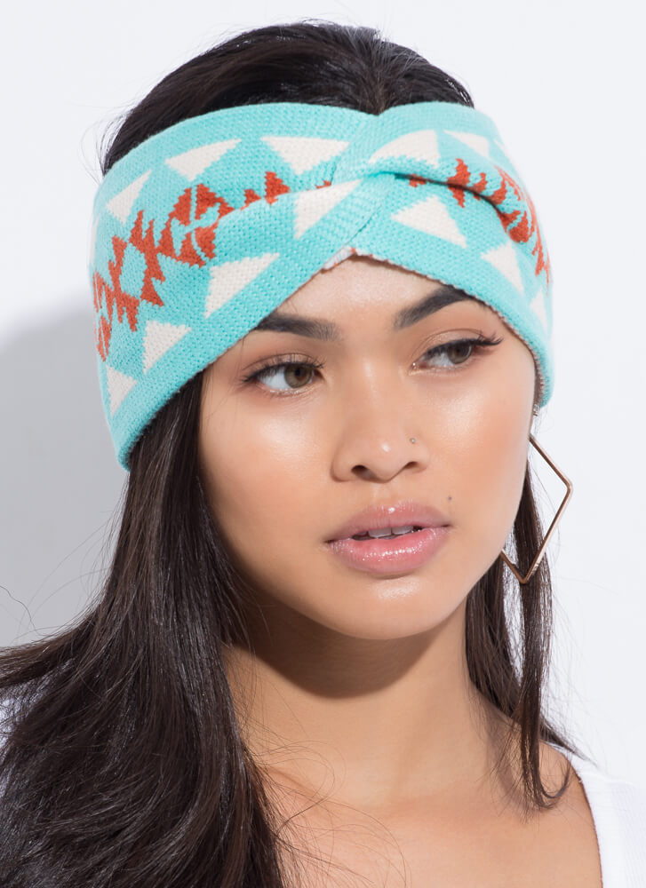 Snowflake Wrapped Patterned Headband TURQUOISE