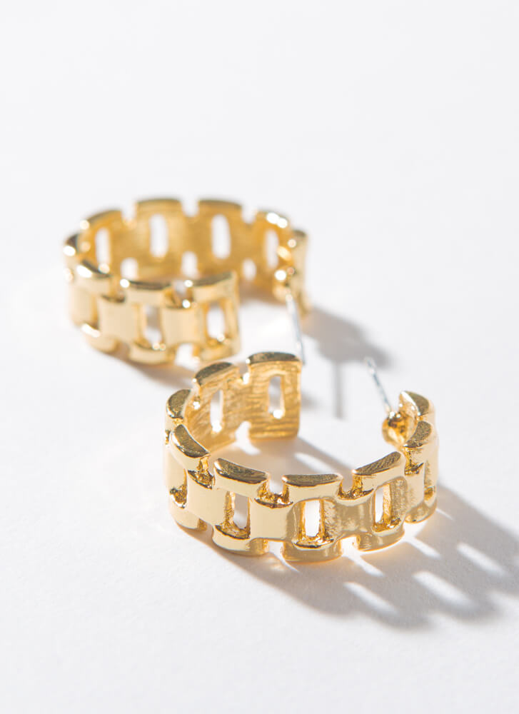 Just Watch Small Linked Band Hoops GOLD