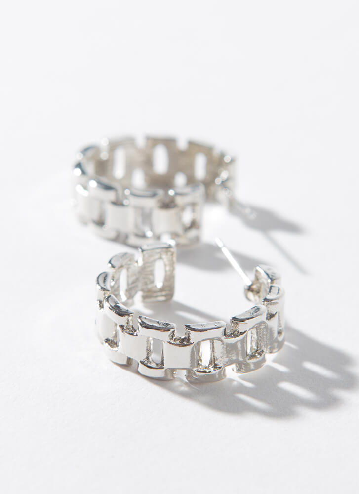 Just Watch Small Linked Band Hoops SILVER
