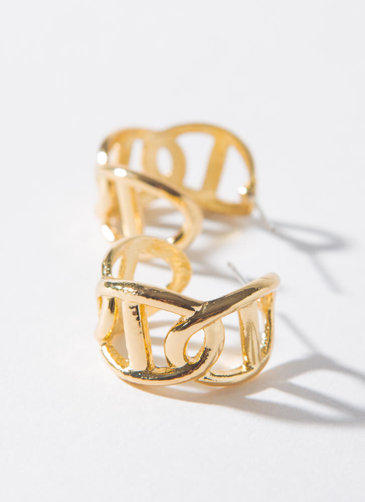 Nautical Link Small Anchor Chain Hoops GOLD