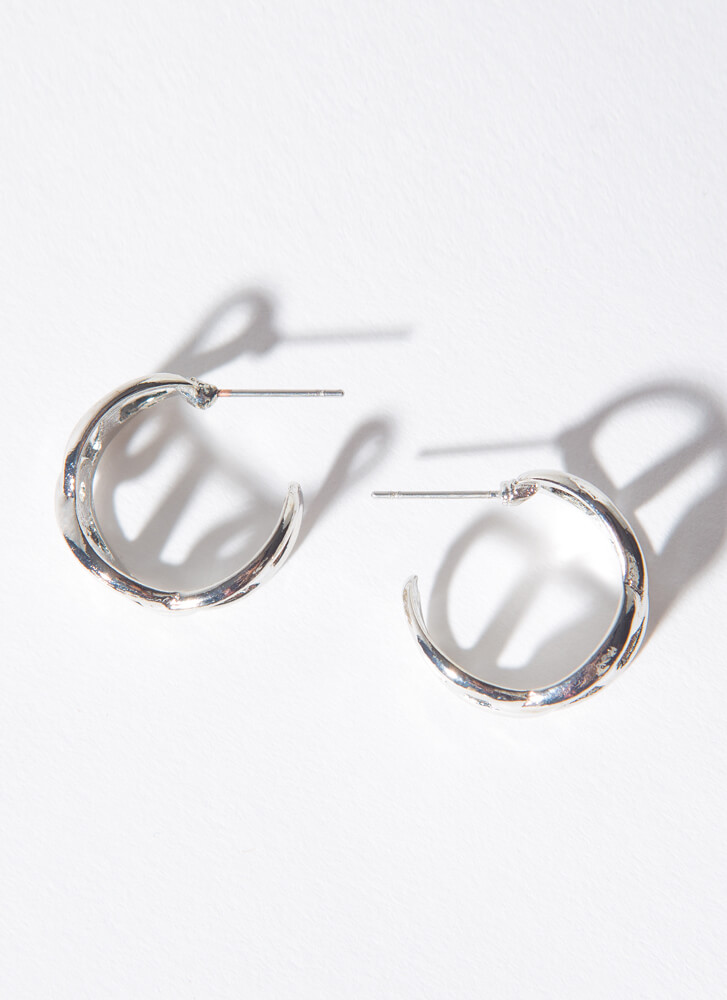 Nautical Link Small Anchor Chain Hoops SILVER