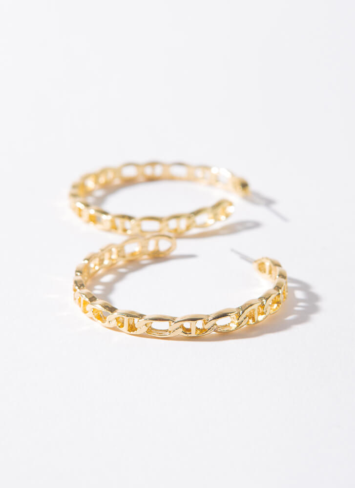 Linking Of You Anchor Chain Hoops GOLD
