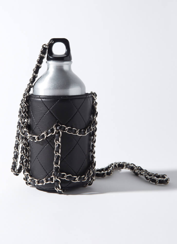 Chic Sheath Quilted Chained Water Bottle BLACKSILVER