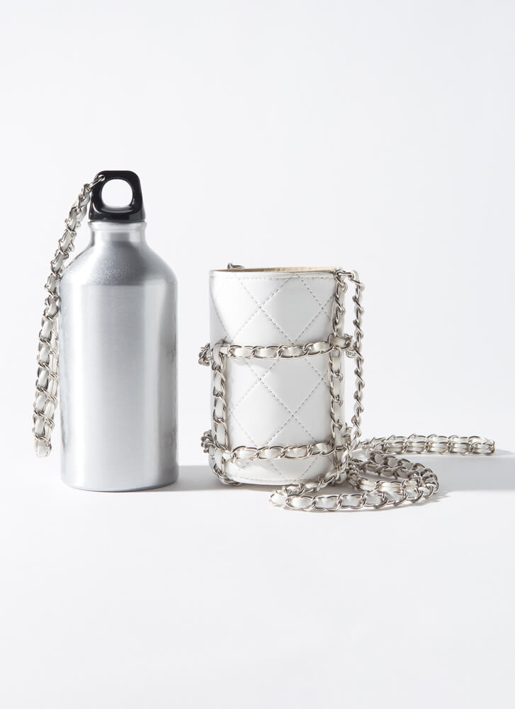 Chic Sheath Quilted Chained Water Bottle WHITESILVER