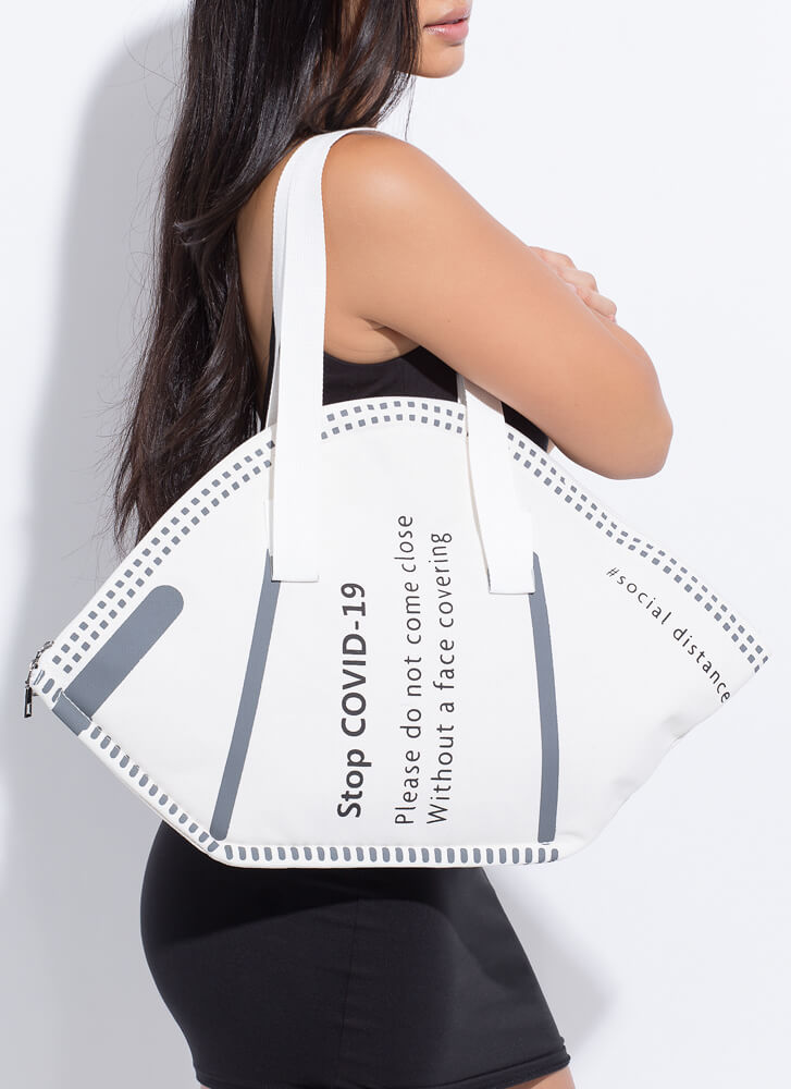 Stop The Spread Oversized Face Mask Bag WHITE