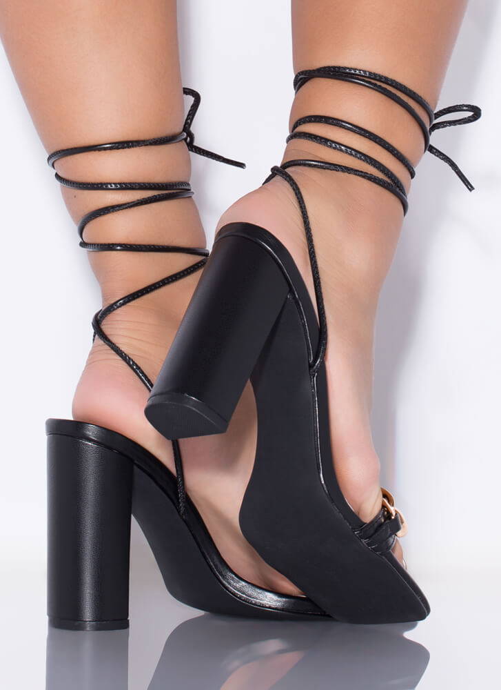 Save The Link Chain Strap Lace-Up Heels BLACK