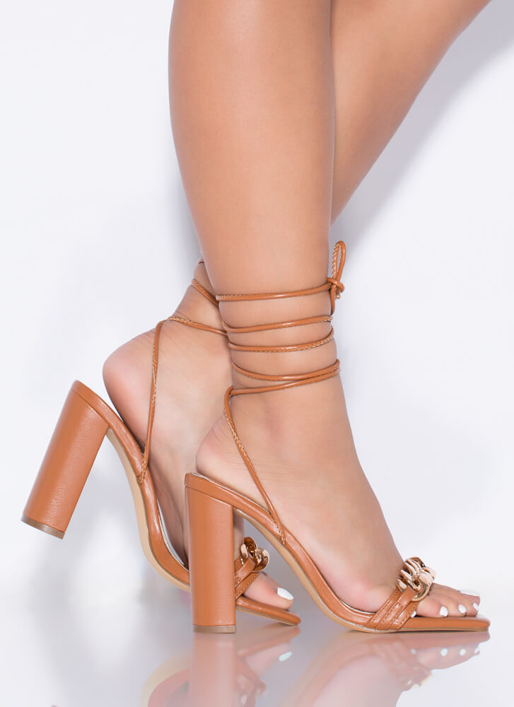 Save The Link Chain Strap Lace-Up Heels HONEY