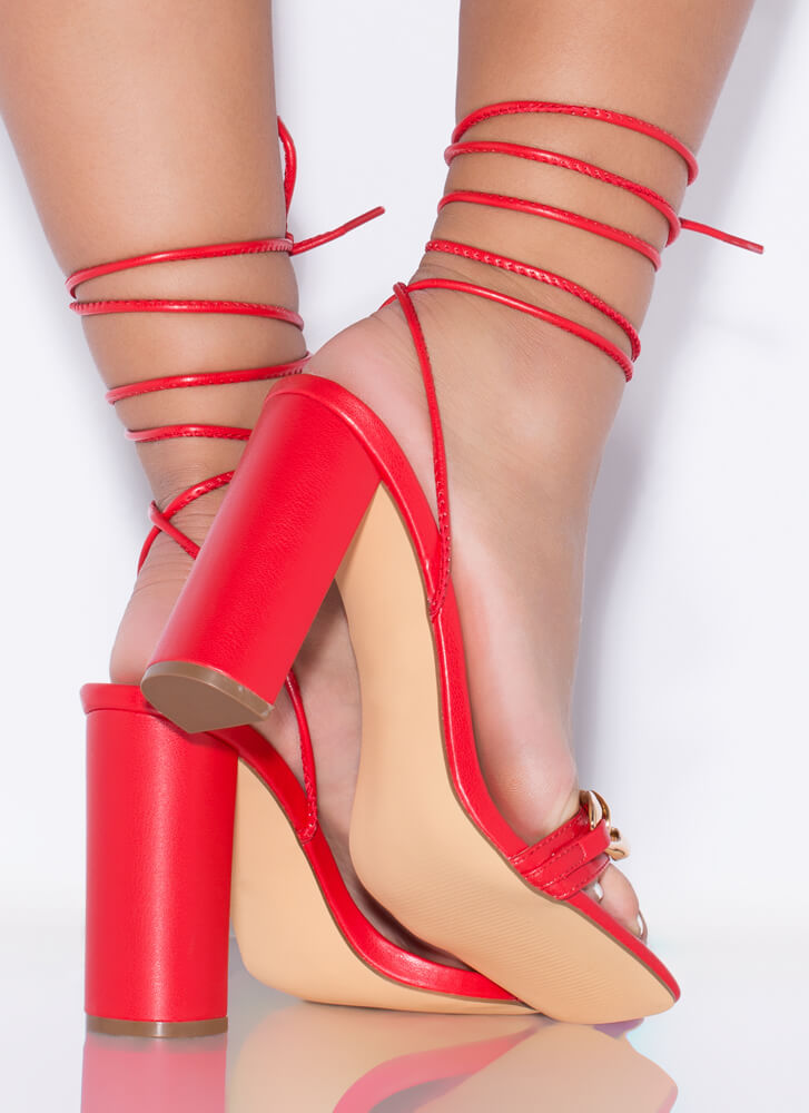 Save The Link Chain Strap Lace-Up Heels RED