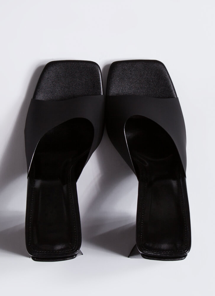 Things Are Shaping Up Chunky Mule Heels BLACK