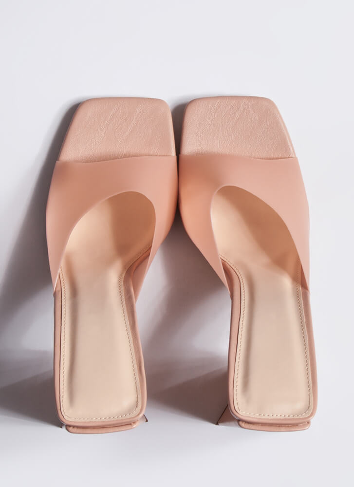 Things Are Shaping Up Chunky Mule Heels NUDE