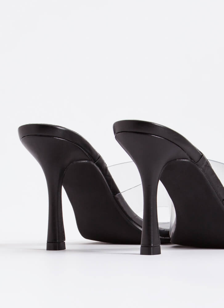 Weave A Story Clear Illusion Mule Heels BLACK
