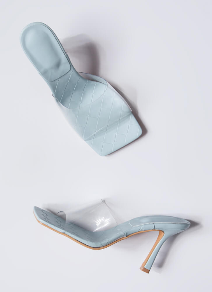 Weave A Story Clear Illusion Mule Heels BLUE