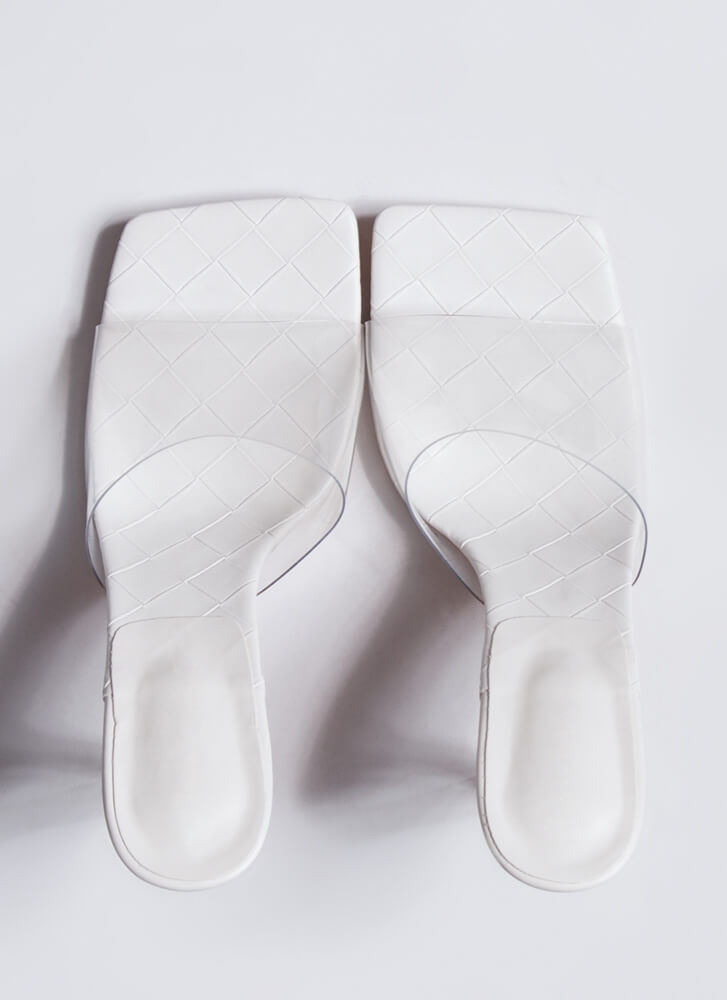 Weave A Story Clear Illusion Mule Heels WHITE
