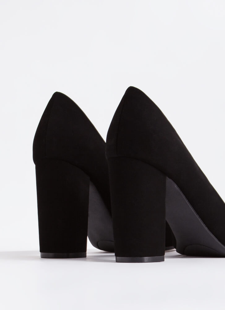 Chunky Town Pointy Faux Nubuck Pumps BLACK