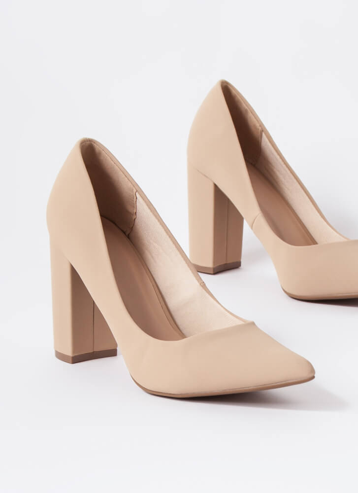 Chunky Town Pointy Faux Nubuck Pumps NUDE