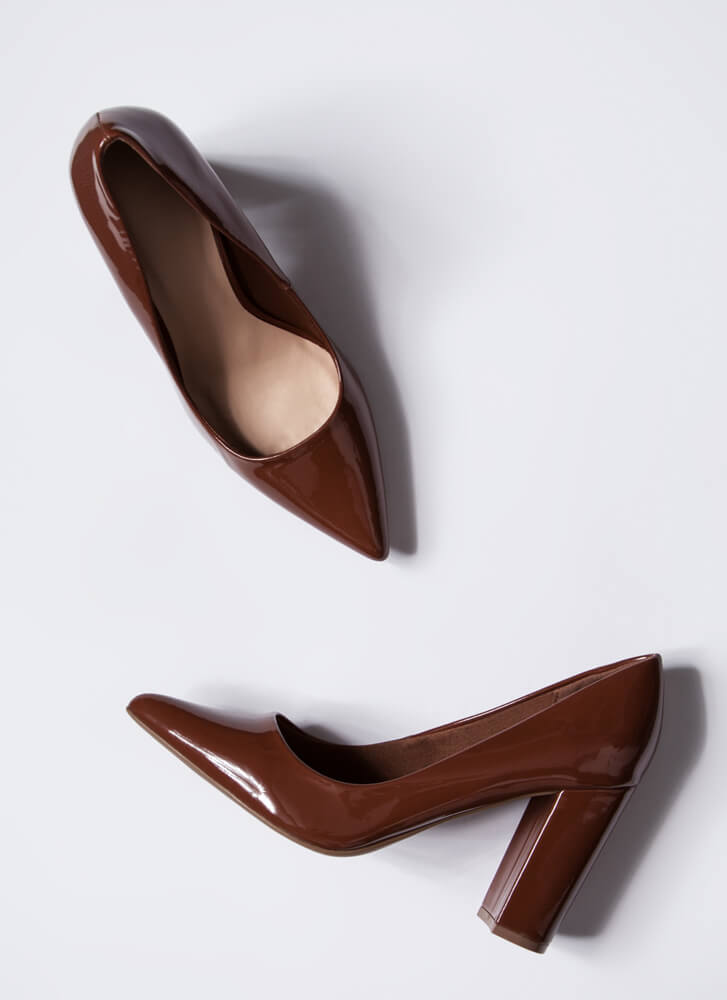 Chunky Town Pointy Faux Patent Pumps COGNAC