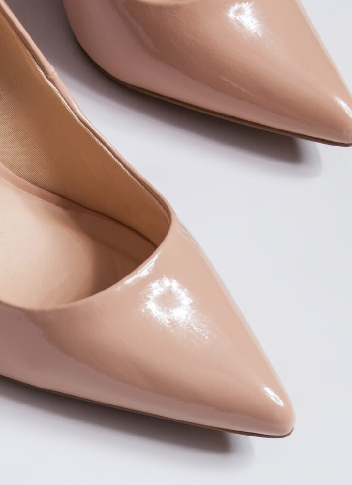 Chunky Town Pointy Faux Patent Pumps NUDE