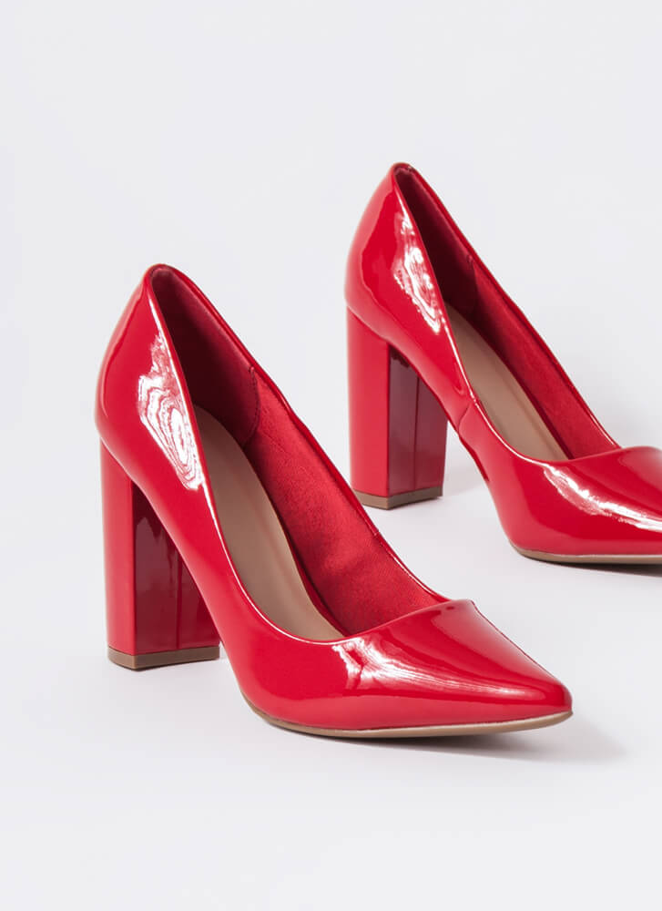 Chunky Town Pointy Faux Patent Pumps RED