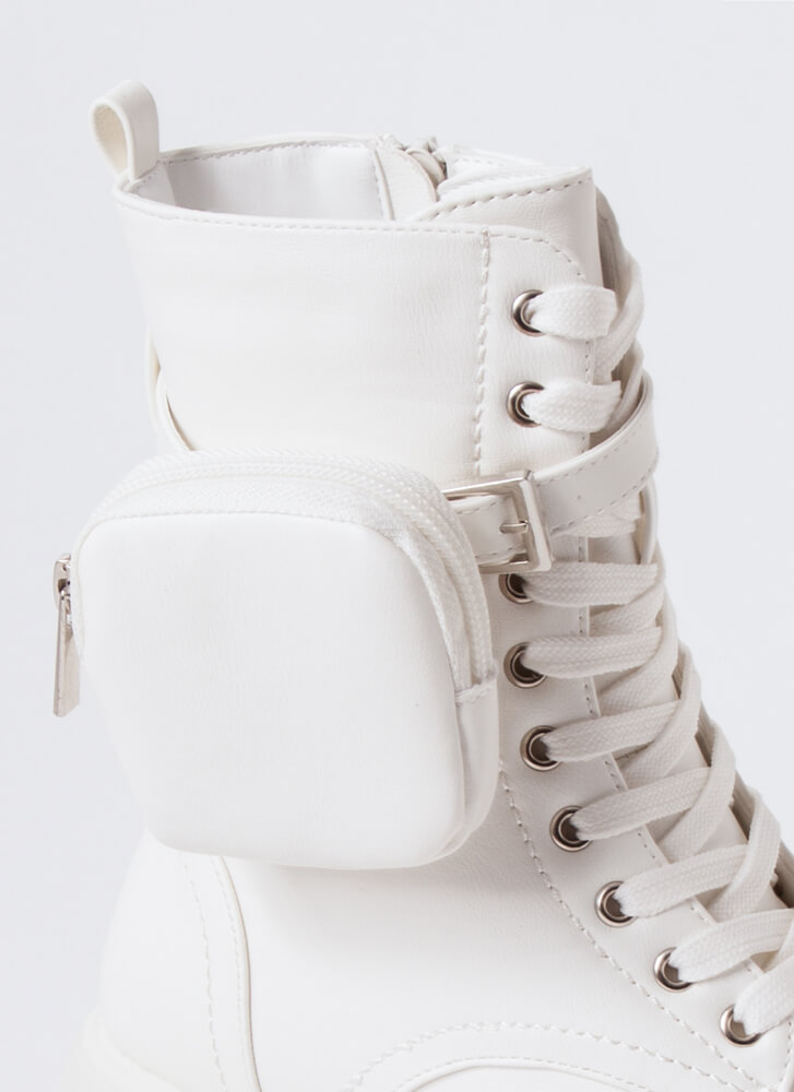 Carry On Pouch Accent Platform Boots WHITE