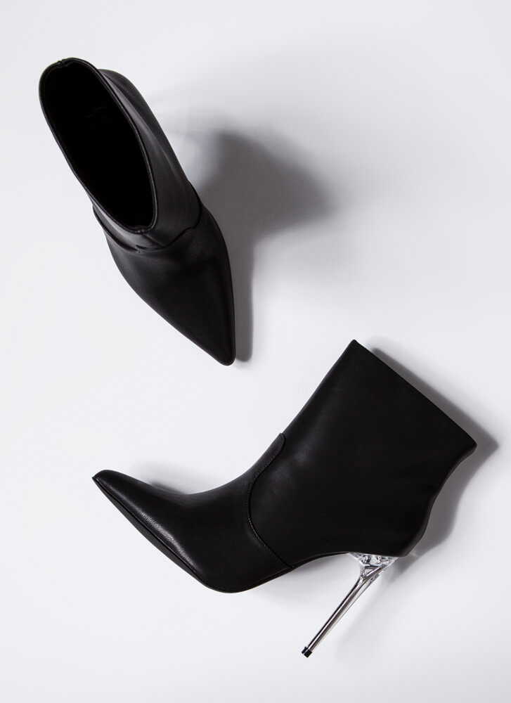 Like A Dagger Lucite Stiletto Booties BLACK