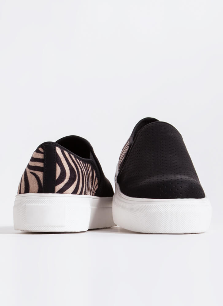 Animal DNA Perforated Slip-On Sneakers BLACK