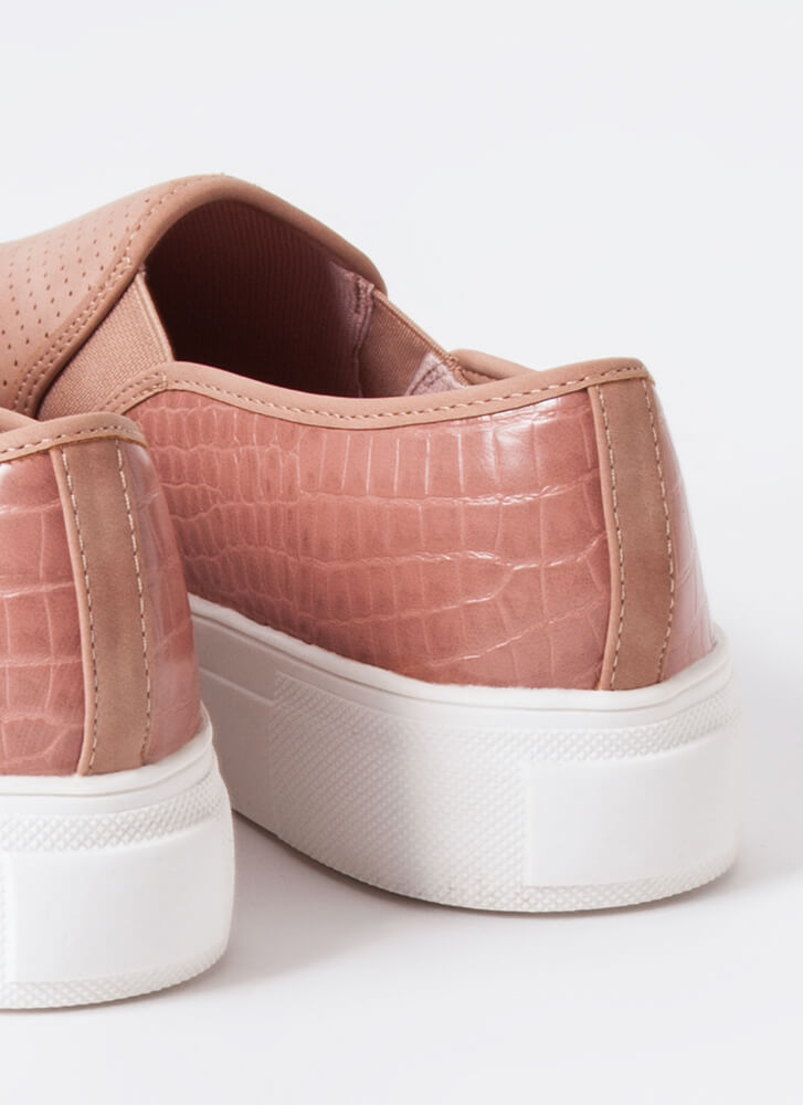 Animal DNA Perforated Slip-On Sneakers BLUSH
