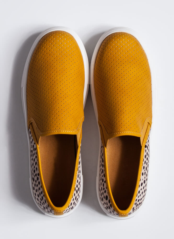 Animal DNA Perforated Slip-On Sneakers MUSTARD