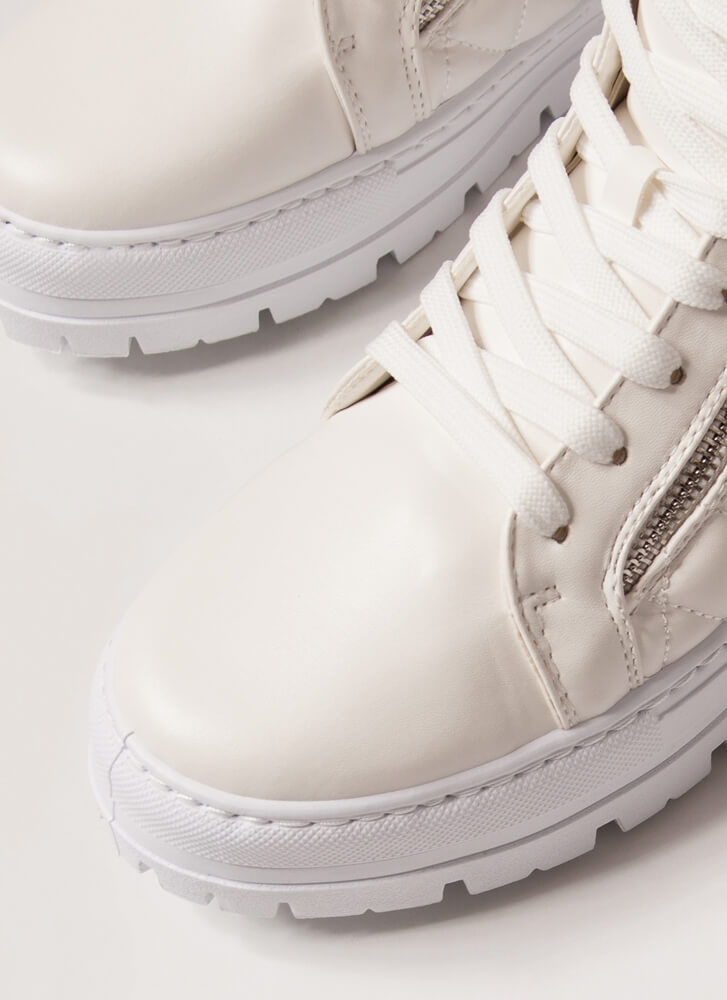 2 Legit 2 Zip Quilted High-Top Sneakers WHITE