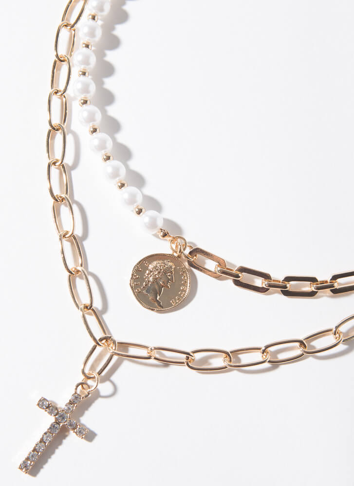 Cross Between Pearl And Chain Necklace GOLDCREAM