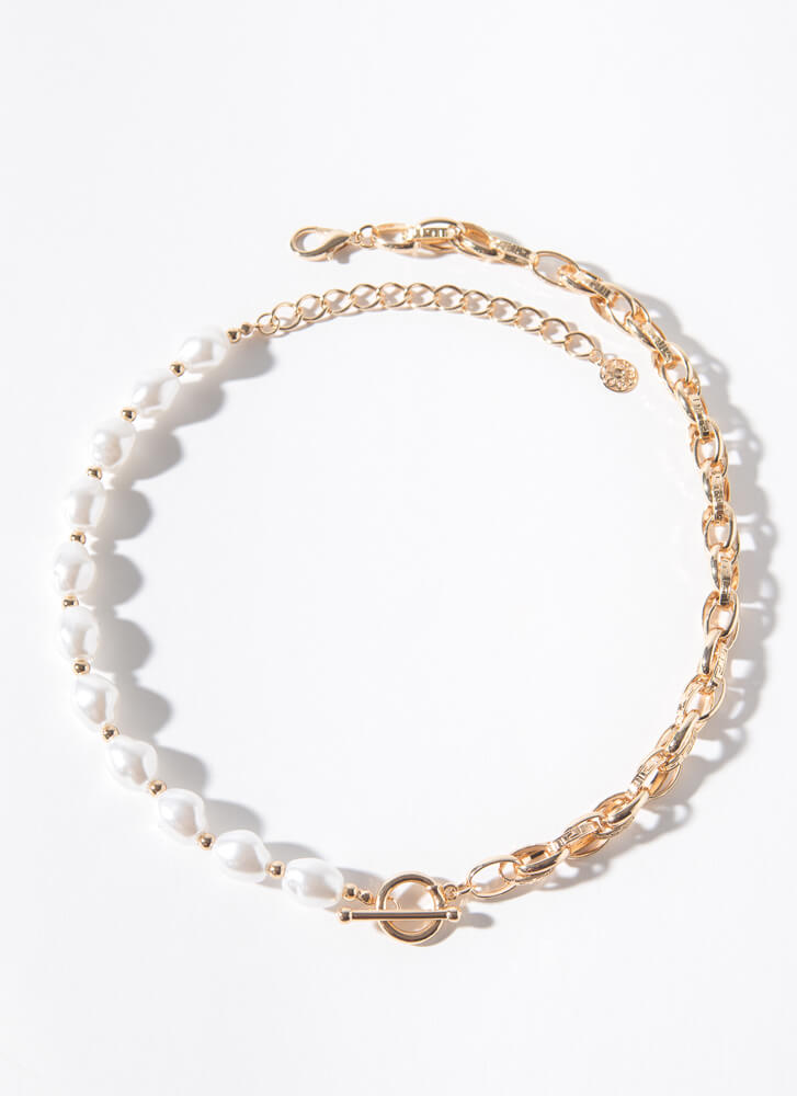 Halve You Ever Pearl And Chain Necklace GOLDCREAM