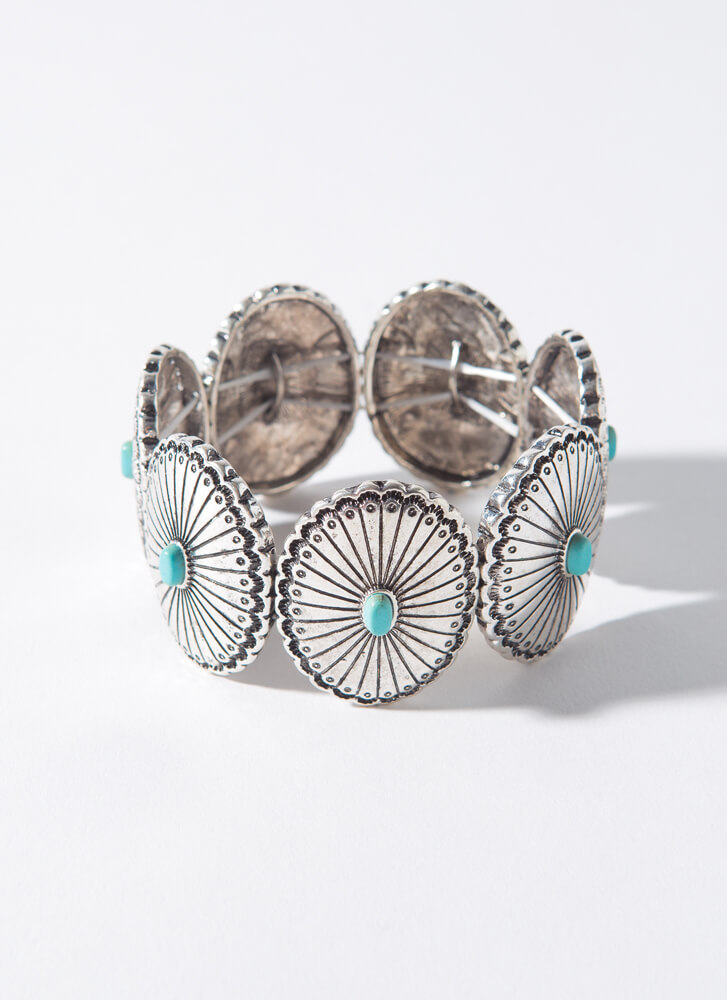 Shells And Stones Stretchy Bracelet SILVER