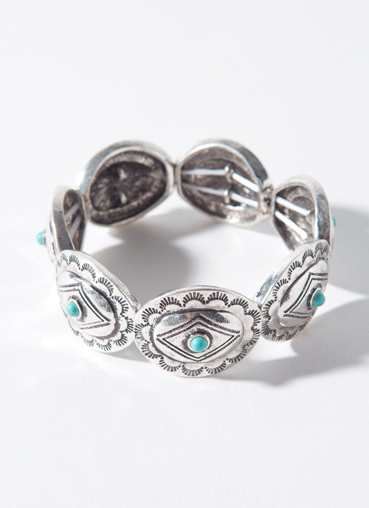 Stone Collector Stretchy Plate Bracelet SILVER