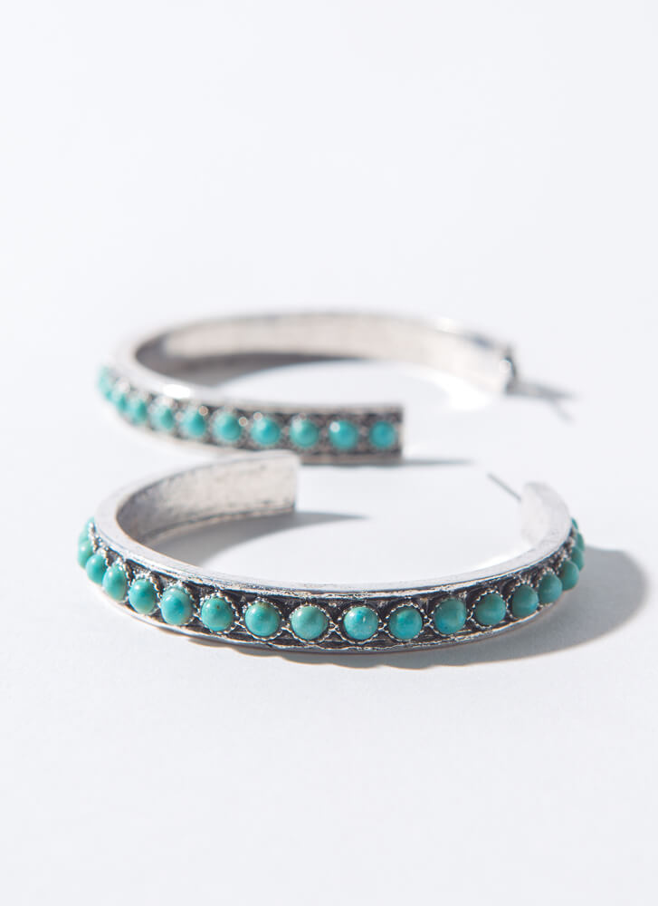 Turquoise Lover Stone-Encrusted Hoops TURQUOISE