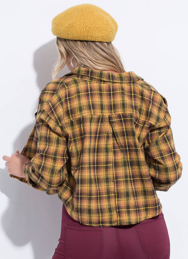 Born To Be Plaid Cropped Button-Up Top MUSTARD
