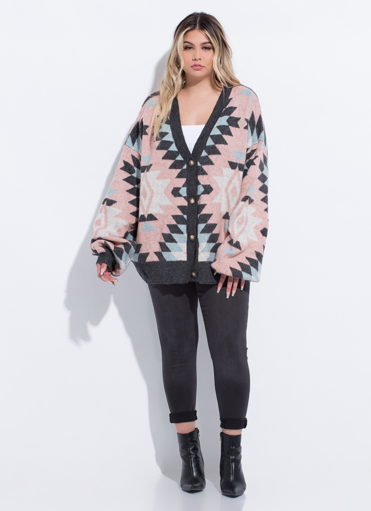Weather Patterns Oversized Cardigan CHARCOAL