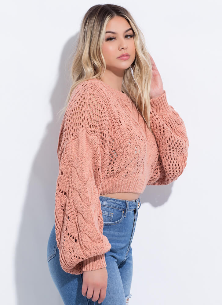 Knit Girl Cropped Balloon Sleeve Sweater CLAY