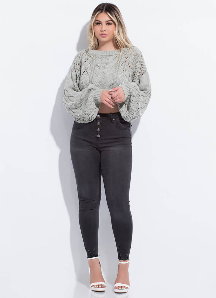 Knit Girl Cropped Balloon Sleeve Sweater SAGE