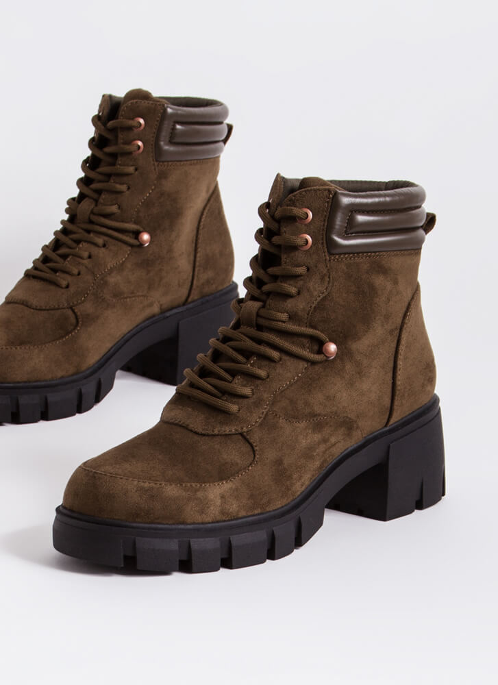Hiker Chic Faux Suede Block Heel Boots OLIVE