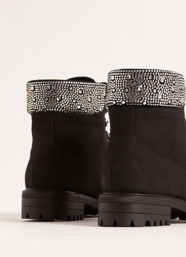Bling Out The Best Rhinestone Work Boots BLACK