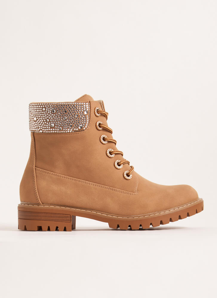 Bling Out The Best Rhinestone Work Boots CAMEL