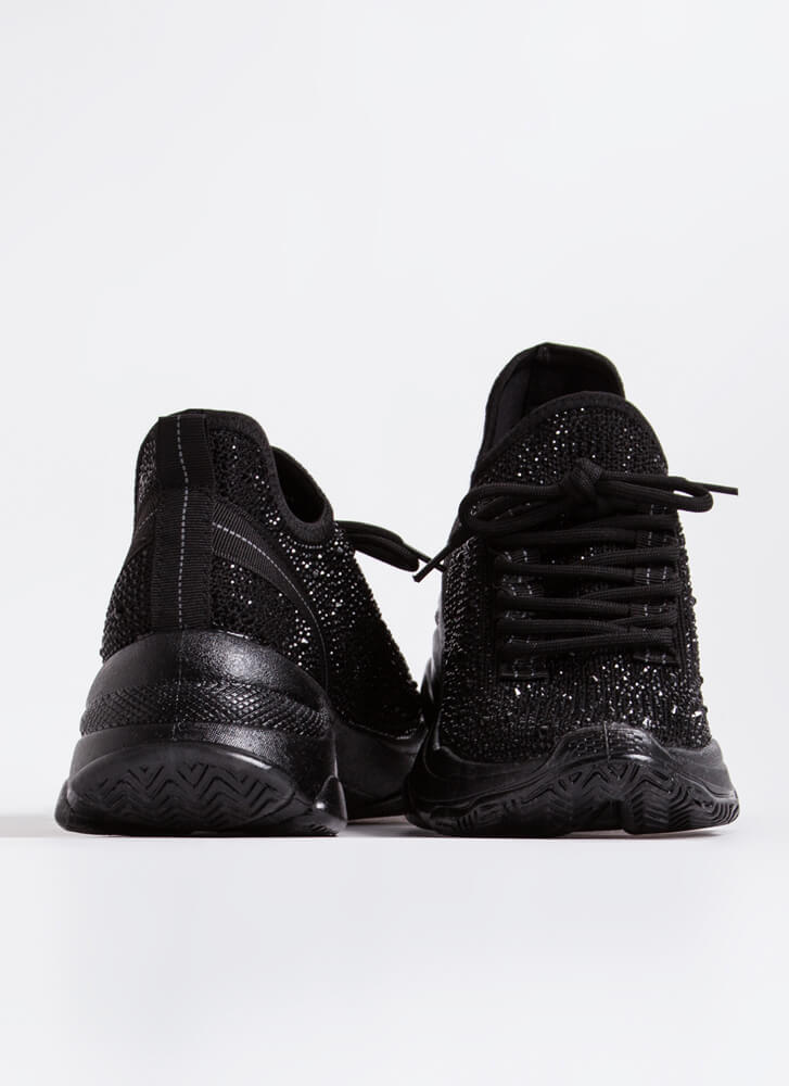 Dew Your Own Thing Jeweled Knit Sneakers BLACK