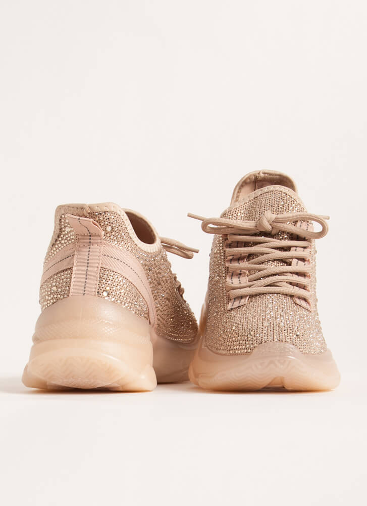 Dew Your Own Thing Jeweled Knit Sneakers CREAM