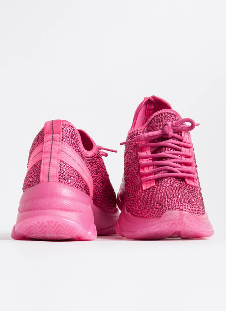 Dew Your Own Thing Jeweled Knit Sneakers PINK