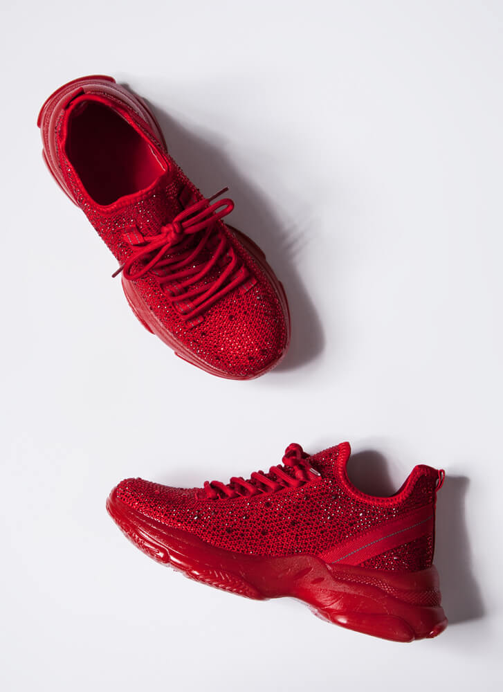 Dew Your Own Thing Jeweled Knit Sneakers RED