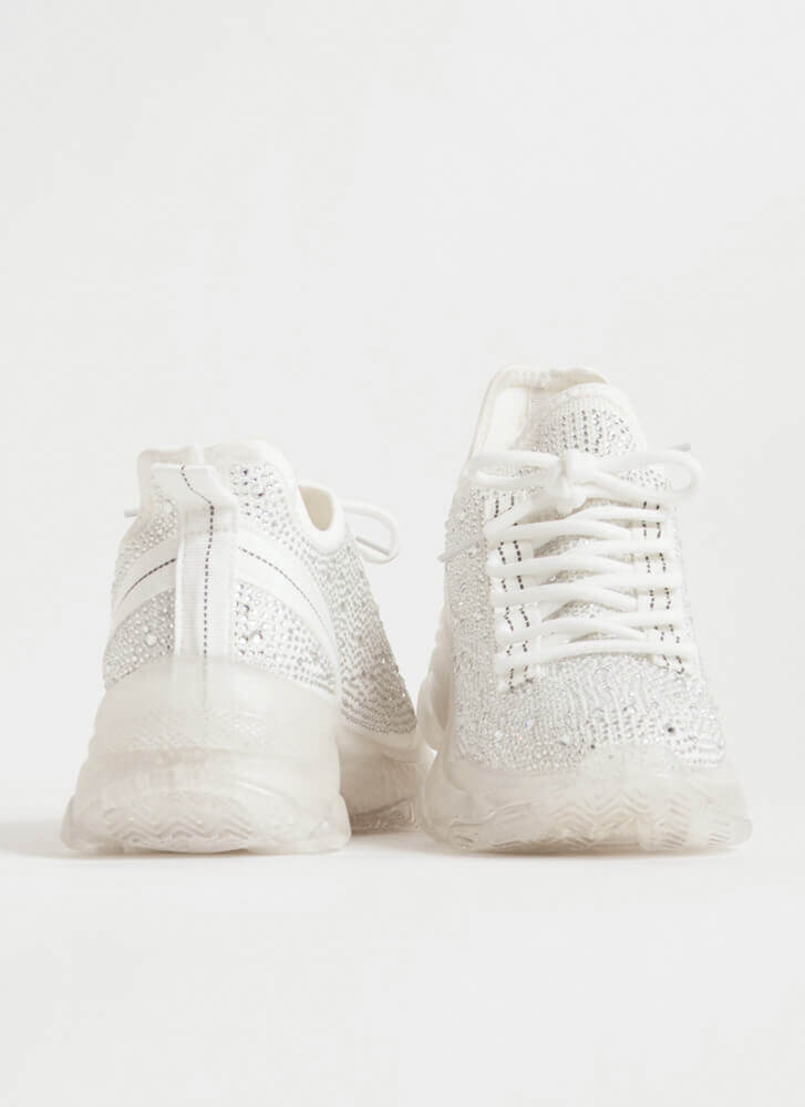 Dew Your Own Thing Jeweled Knit Sneakers WHITE