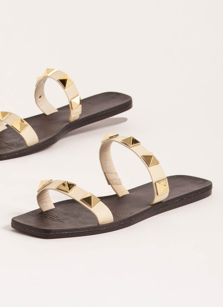 You Big Stud Double Strap Sandals IVORY