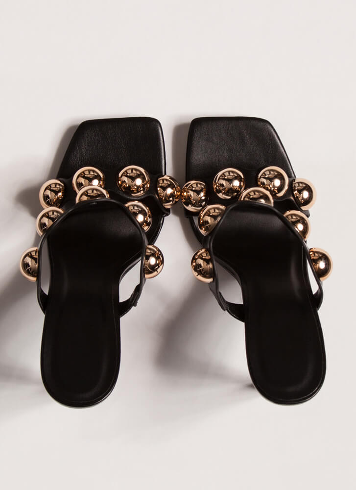 My Own Little Bubbles Dome Accent Heels BLACK