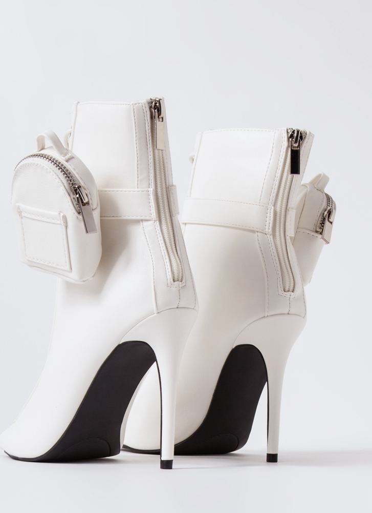 Pack Light Lace-Up Peep-Toe Booties WHITE