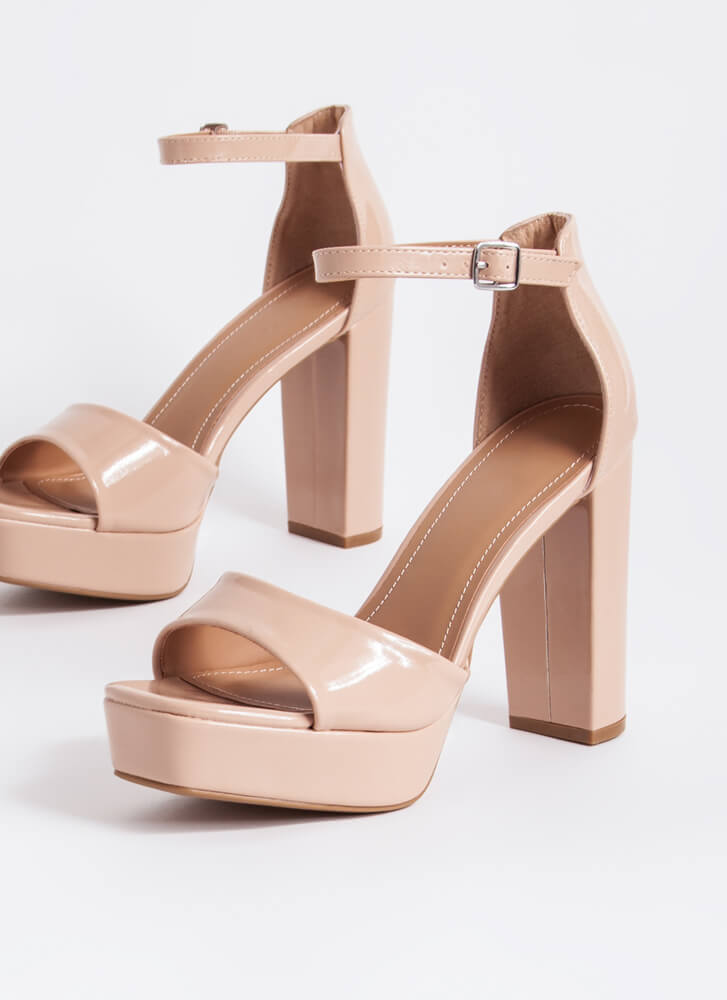 Essentials Chunky Faux Patent Platforms NUDE