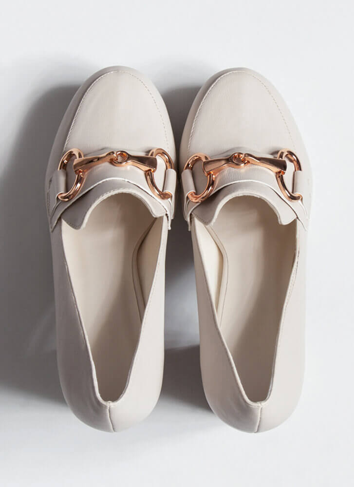 Boss Lady Faux Leather Loafer Heels IVORY